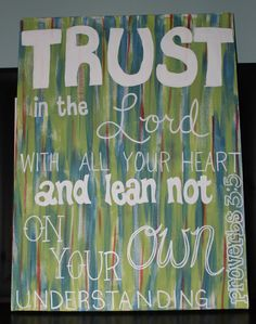 Custom Personalized Canvas. Scripture Verse Painting. Proverbs 3:5. Bible Verse Art. $48.00, via Etsy.