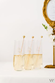 These personalized stemless champagne flutes come in handy for multiple toasts on your wedding day!