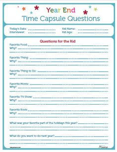 Time Capsule to do with the kids! What a great way to remember those sweet memories!!! Comes in a PDF form so you can print as many as you'd like!