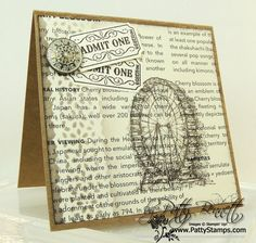Patty's beautiful vintage card uses Feeling Sentimental (SAB), That's the Ticket, First Edition dsp, and Delicate Details Lace Tape. Video on Sponging Delicate Details Lace Tape.