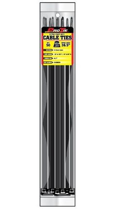 Pro Tie B36EHD50 36.5-Inch Extra Heavy Duty Standard Cable Tie, UV Black Nylon, 50-Pack by Pro Tie. $20.57. ProTie Extra Heavy Duty cable ties are made from high strength and lightweight 6/6 nylon. Nylon 6/6 is a hygroscopic material, which absorbs and releases moisture, is non-toxic, and has a working temperature range of-40 to 185-Degree F (-40 to 85-Degree C). Extra Heavy Duty cable ties are approximately.08-Inch thick and.35-Inch wide. Our UV Black cable ties are UV stabili...