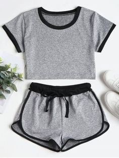 Contrasting Binding Shorts Tracksuit Women Set Summer Skinny Sportwear Crew Neck Short Sleeve Crop Top Drawstring Shorts Gray S Cute Lazy Outfits, Sporty Outfits, Teen Fashion Outfits, Trendy Outfits, Girl Outfits, Summer Outfits, Womens Fashion, Fashion Shorts, Hiking Outfits