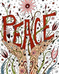 Peace Art Print Affirmation Positive Peace by ValerieLorimer, $30.00