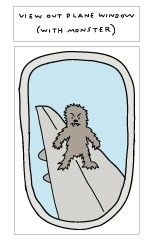 Blik Wall Decals: View Out Plane Window (With Monster). This is so cute and funny, I love it!