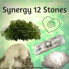 The 12 Synergy Crystals are a collection of minerals, first described by Robert Simmons and Naisha Ahsian in The Book of Stones.  This group of high energy crystals are thought to will help activate the light body as well as to quickly enhance the process of spiritual ascension and evolution.