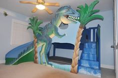 Who wouldn't want something like *this* watching over them every night. Click to learn more about all the awesome features included in the T-Rex Dinosaur Bunk Bed.