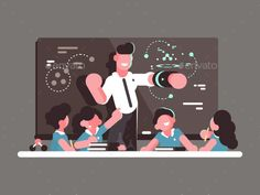 Buy School Teacher at Lesson by on GraphicRiver. School teacher at lesson. Teaching children in classroom. People Illustration, Flat Illustration, Character Illustration, Graphic Design Illustration, Character Flat Design, School Teacher, School Design, Creative Inspiration, Teaching