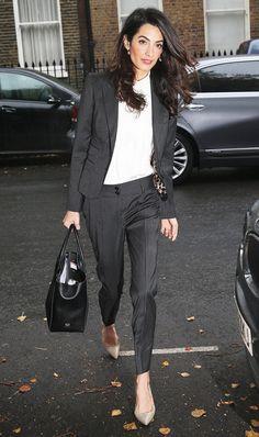 On Amal Clooney: Dolce & Gabbana suit; Paul Andrew Zenadia Pumps($645).