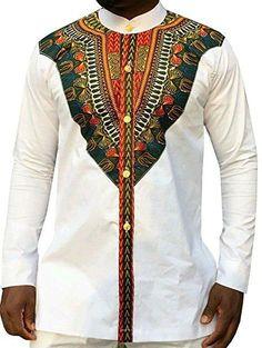 Mens African Dashiki Dress Shirts 2018 Brand New Long Sleeve Shirt Men Casual Tribal Ethnic Print African Clothing Camisa Hombre African Dashiki Shirt, African Shirts, African Clothes, African Men Fashion, Ethnic Fashion, Men's Fashion, Stand Collar Shirt, Mens Shirts Online, Denim Shirt With Jeans