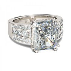 Buy Jeulia Radiant Cut Created White Sapphire With Emerald Sidestone Engagement Ring online. Jeulia offers premium quality jewelry at affordable price, shop now! Silver Rings Online, White Sapphire, Blue Topaz, Cushion Cut, Modern Jewelry, Diamond Pendant, Pendant Lamp, Pendant Necklace, Pendant Lighting