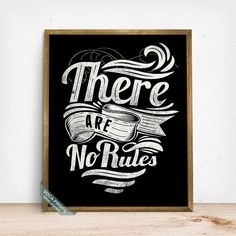 There Are No Ruels Print Typography Poster by VocaPrints on Etsy