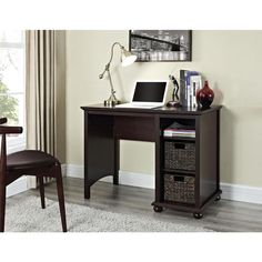 Altra Warren Single Pedestal Desk with Two Water Hyacinth Storage Bins - Overstock™ Shopping - Great Deals on Altra Desks