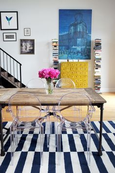 colorful dining room, farmhouse table