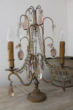 Lovely girandole via The pollewop place: Everything for sale ! Antique Chandelier, Chandelier Lighting, French Chandelier, Shabby Chic Decor, Vintage Decor, Diy Home Furniture, Altar, Lamp Shades, Statues