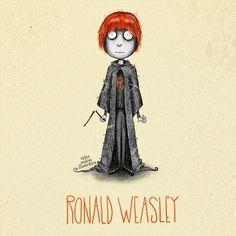 Tim Burton style Harry Potter characters: Ron Weasley