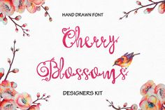 Cherry Blossoms Hand Made Font by HeArt Lab on @creativemarket