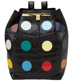 JUST ONE EYE: Damien Hirst & The Row / Multicolored Pills Exclusive to Just One Eye and only one in a rare, limited edition of 12, this piece features numerous multicolored aminate appliqués of uniform size, specially created by Damien Hirst and meticulously applied to front, back, and straps of The Row's black patent leather Nile crocodile backpack. Signed by Damien Hirst.