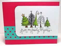 christmas cards Impression Obsession - Cling Mounted Rubber Stamp - By Lindsay Ostrom - Funky Trees Lines On Christmas, Cute Christmas Cards, Homemade Christmas Cards, Xmas Cards, Christmas Art, Handmade Christmas, Homemade Cards, Watercolor Christmas Cards, Christmas Drawing