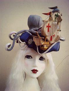 The Kraken Wakes, Marie Antoinette inspired tricorn hat by Betsy Hatter  www.betsyhatter.co.uk