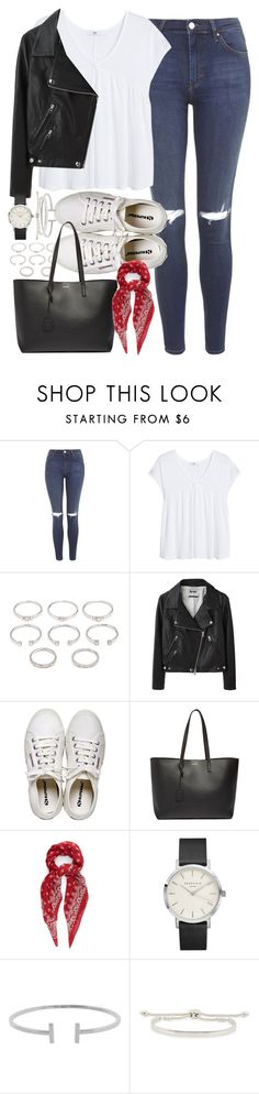 """""""Outfit with a leather jacket for university"""" by ferned ❤ liked on Polyvore featuring Topshop, MANGO, Forever 21, Acne Studios, Henri Bendel, Yves Saint Laurent, Humble Chic and Monica Vinader"""