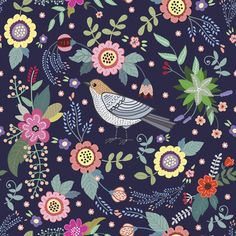 Сut vintage pattern with a bird and flowers Art Print