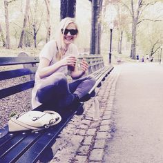 Emily Kinney Day off vibes. #icedcoffee #nyc #centralpark