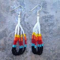 "Native American Style 2"" White & Multicolor Beaded Looped Earrings"