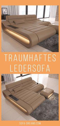 Das moderne Ledersofa Concept ist in verschiedenen Farben und Ausführungen erhältlich. Das Designer Sofa aus Leder in Beige ist ein wahrer Hingucker in jeder modernen und gemütlichen Wohnzimmer Einrichtung. Das Ecksofa aus Leder ist mit LED Beleuchtung ausgestattet und verleiht deinem modernen Wohnzimmer ein tolles Ambiente. Weitere Luxus Sofas und Couches findest du bei Sofa-Dreams. #Sofa #Interior #Ledersofa