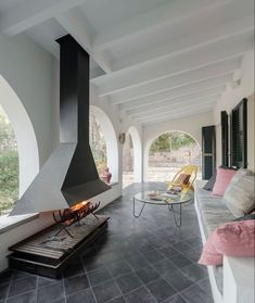 Interior Exterior, Patio, Oversized Mirror, Cement Tiles, Windows, Architecture, House, Furniture, Instagram