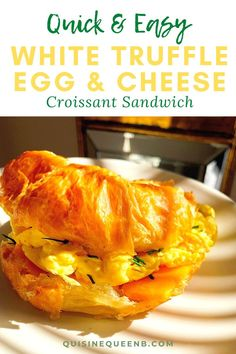 Escape to a bed and breakfast at home with this quick and easy breakfast croissant sandwich. A buttery croissant is layered with elegant white truffled eggs, sharp cheddar cheese, and aromatic chives.   #breakfast #breakfastsandwich #croissant #croissantsandwich #quickandeasy #trufflebutter Quick And Easy Breakfast, Healthy Breakfast Recipes, Quick Easy Meals, Breakfast Ideas, Breakfast Croissant, Croissant Sandwich, Easy Homemade Recipes, Brunch Menu, Tasty Dishes
