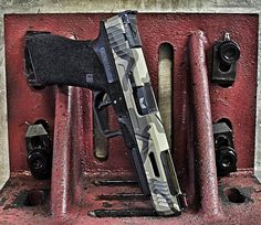 new competition G34 Built by @agencyarms with a special Bomar competition sight cut. High vis fiber front with a blacked out fully adjustable rear. I had this Cerakoted in DCU as a remembrance to my time served in Mosul Iraq 2004 with the Army Stryker brigades.  ..