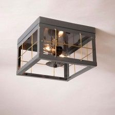 Farmhouse Double Ceiling Light with Brass Bars in Country Tin