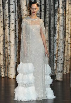 Ultra Luxe Cape Wedding dress by Naeem Kahn / I can see this for a winter wedding