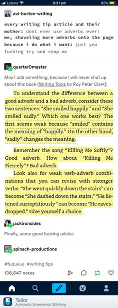 The difference between good adverbs and bad ones - - Creative Writing Tips, Book Writing Tips, Writer Tips, Writing Words, Writing Resources, Writing Help, Writing Skills, Writing Paper, Writing Ideas