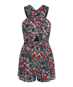 Green Floral Print Wrap Front Playsuit    New Look