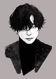 Manga Anime, Anime Art, Taehyung Fanart, Bts Taehyung, Doodle Art Journals, Kpop Drawings, Gothic Anime, Outline Drawings, Kpop Fanart