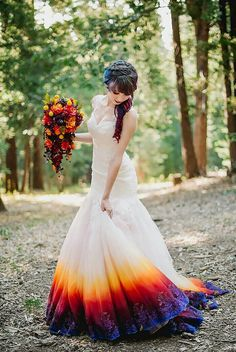Dye Wedding Dress Trend Will Make Your Big Day More Colorful Dye Wedding Dress Trend Will Make Your Big Day More Colorful A-Line Scoop Open Back Sweep Train Ombre Wedding Dress with Appliques Pretty Dresses Colors of the Sunset & Night Sky Dip Dye Wedding Dress, Wedding Dress Trends, New Wedding Dresses, Prom Dresses, Different Color Wedding Dresses, Colorful Wedding Dresses, Rainbow Wedding Dress, Bride Dresses, Pretty Dresses