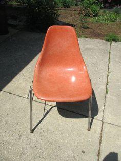 Fiberglass Chair Eames Mid Century Orange Domore Office Furniture Vintage  1950s #Domore #MidCentury
