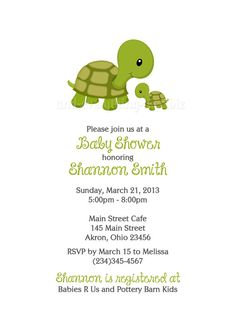 Turtle+Baby+Shower+Birthday+Invitation+Custom+by+PhotoInvitations,+$1.50