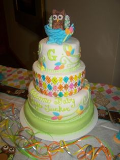 """Hoot Owl """"Whooo Loves You Baby By janiceing on CakeCentral.com"""
