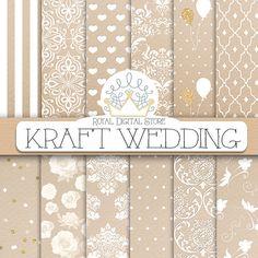 "Kraft digital paper: ""KRAFT WEDDING"" with kraft scrapbook paper, wedding background, wedding patterns for scrapbooking, cards"