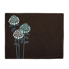 """Linen Placemats embroidered with Teal Waratah Flowers on Dark Brown linen Each mat measures approximately 14"""" x 18"""" and made from two layers of Dark brown linen fabric. This listing is for placemat in set of 4. I have coordinating runner for this placemat."""