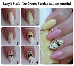 Ice Cream Sundae nail art manicure with tutorial!