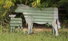 Corrugated Iron cow and calf