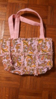 Baby pink patterned rag quilt purse by by Karenskreations2011, $25.00