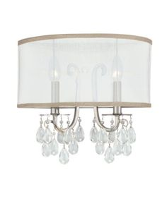 5622-CH Hampton 2LT Wall Sconce, Polished Chrome Finish with Silver Silk Fabric Shade and Clear Crystal Drop Accents Crystorama,http://www.amazon.com/dp/B0026S2232/ref=cm_sw_r_pi_dp_7dxwtb0NR5NM3G5R $217 Living Room Sconces