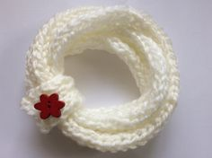Circle scarf - Cowl - Infinity Scarf - Snood - Girls' Scarf - White scarf- Knitted scarf by TheScarfRoom on Etsy