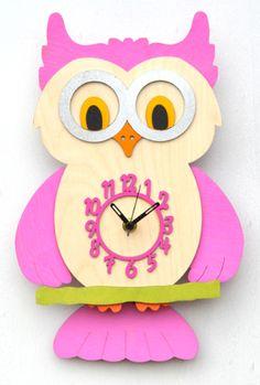 Pink Owl Pendulum Clock