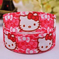 "7/8"" 22mm Hello Kitty Cartoon Printed grosgrain ribbon party decoration satin ribbons DIY Hairbow sewing supplies 10Y X-00160"