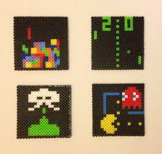 Classic Arcade / Atari game coaster set perler beads by ThePixelizedPrincess